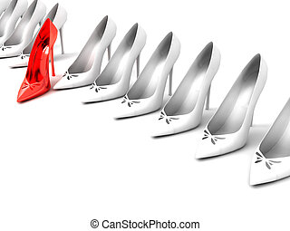 row of white lady shoes and one red shoe on a white...