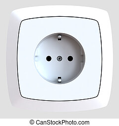 white plastic electric socket is built-in in a wall