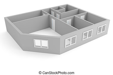plan of modern apartment with empty rooms with windows and...