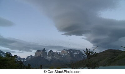 Timelapse clouds. Andes, Chile - Spiral clouds at sunset....