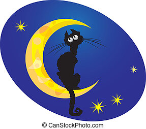 black cat on moon