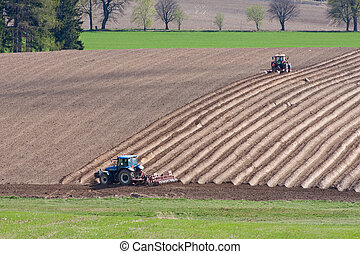 tractor plowing filed - tractor planting potatoes in the...