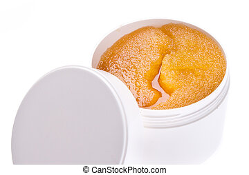 body scrub - honey body scrub in container isolated on white...