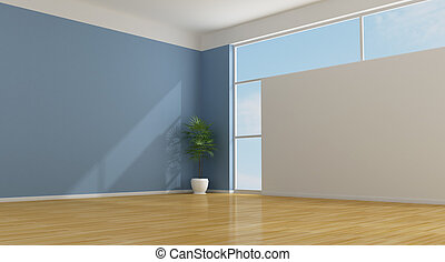 Empty blue room - Empty blu living room with parquet -...