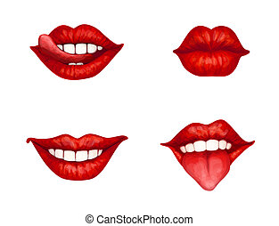 Lips - set of 4 red female lips