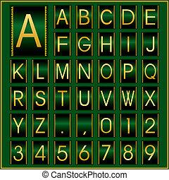 golden alphabet in green frame