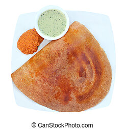 Golden masala dosa with two different chutneys on a plate...