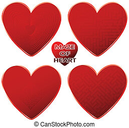 red maze hearts set