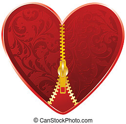 red heart with golden zipper, floral ornate pattern...