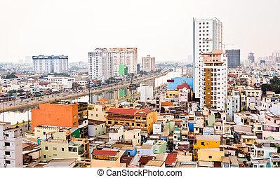 Saigon, húmedo, smoggy, día