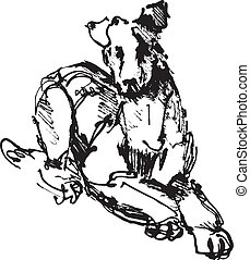 ink sketch of dog: playing young terrier (black and white...