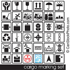 cargo marking set - set of cargo marking icons