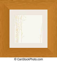 painting of bamboo branch in wooden frame