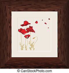 painting of red poppies in wooden frame