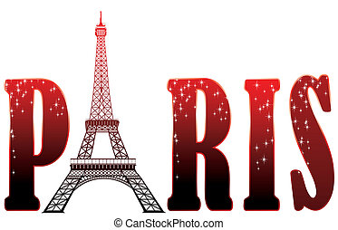sign Paris with eiffel tower - red sign Paris with eiffel...
