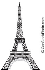 Eiffel tower - silhouette of Eiffel tower in Paris, isolated...