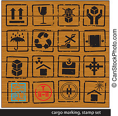 cargo marking stamp set - set of cargo marking stamps on...