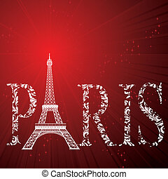 sign Paris with eiffel tower - vintage pattern sign Paris...