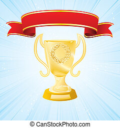 golden cup on strip blue background