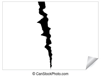 Paper sheet with black ragged crack - Abstract image of...