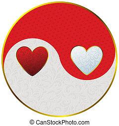yin yang as hearts - sign yin yang decorated vintage plant...