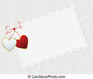 couple of hearts and congratulation card - couple of hearts,...