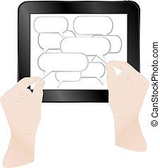 Concept cloud with computer tablet pc. Vector