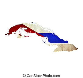 Map of Cuba isolated