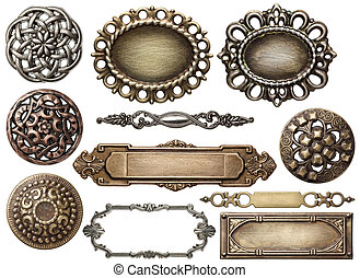 Metal frame - Vintage metal frames, buttons, isolated