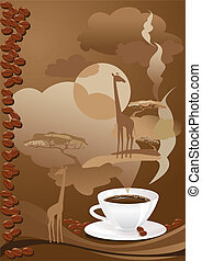 Cup of coffee with abstract design