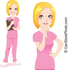 Blond Nurse Silence Sign - Beautiful blond nurse smiling...