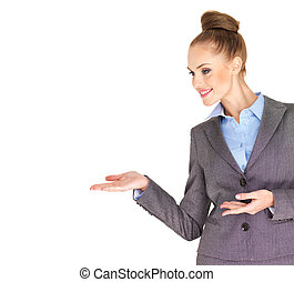 Fullbody business woman smiling isolated - Business woman...