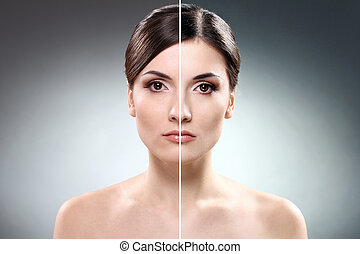 Face of  woman before and after retouch