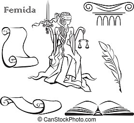 Set of justice symbols book, column, pen, scroll of...