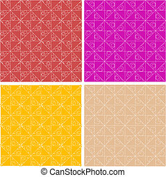Abstract seamless decorative floral patterns set