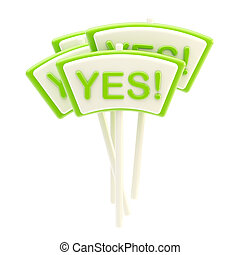 "Group of glossy ""Yes"" plates isolated"