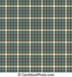 Seamless Aqua, Brown, and Cream Plaid - Soft plaid in aqua...