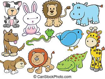 zwierzę, dziewiczość, safari, Wektor, komplet