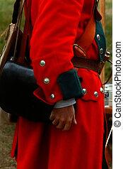 hombre, militar, redcoat, uniforme