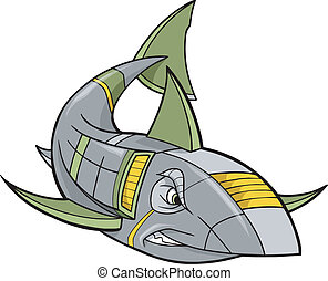 Cyborg Robot Shark Vector Art Illustration