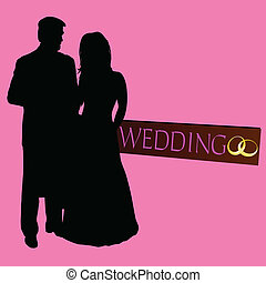 couple wedding silhouette with rings on black