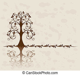 Openwork tree on vintage background