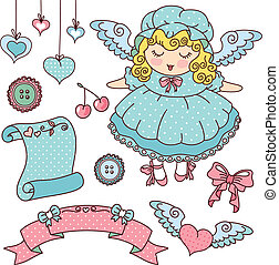 angel and cute things - doodles of cute winged girl and...