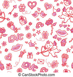 love patern - seamless pattern with love doodles