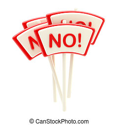 "Group of bright glossy ""No"" plates isolated"