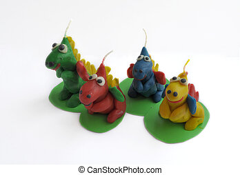 hand-made from clay dragon
