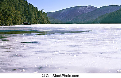 Landscape photo of Treking route along beautiful ice lake in...