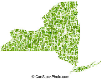 Map of New York State (USA) in a mosaic of green little...
