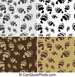 Bear tracks Seamless Texture 4 variants Vector Background