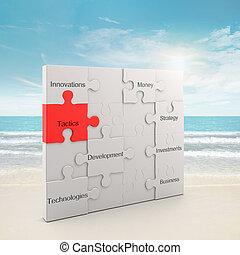 Tactics puzzle concept. 3d and photo montage